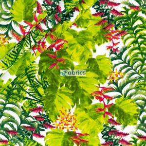 Cotton fabric Palm leaves with flowers on a white background