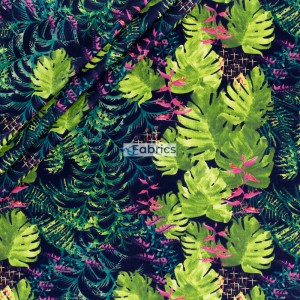 Cotton fabric Palm leaves with flowers on a black background