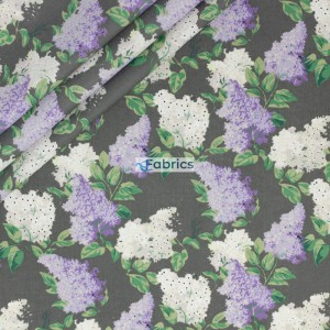 Cotton fabric Violet lilac flowers with a grey background
