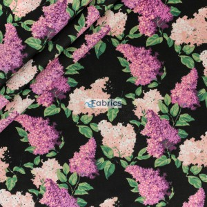 Cotton fabric Pink lilac flowers with a white background