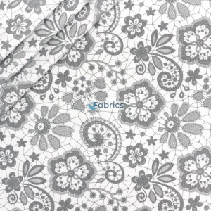 Cotton fabric Grey lacy...