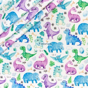 Colourful dinosaurs on the white background
