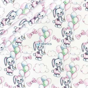 Pastel bunnies wth balloons on the white background