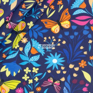 Butterflies and flowers on a navy blue background