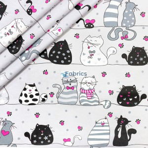 Cats on black lines on a grey background
