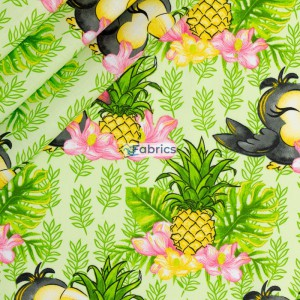 Toucans and pinneapples on a green background