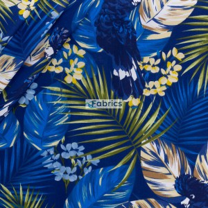Parrots and palm leaves on a dark blue bachground