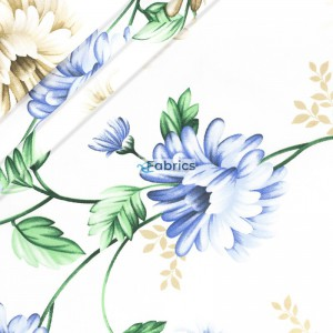 Blue and beige flowers with leaves
