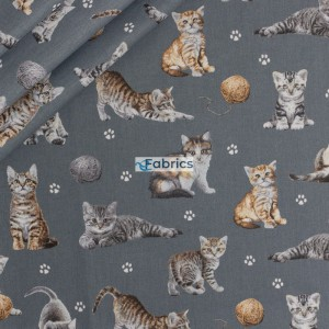 Kittens with yarns on a grey background