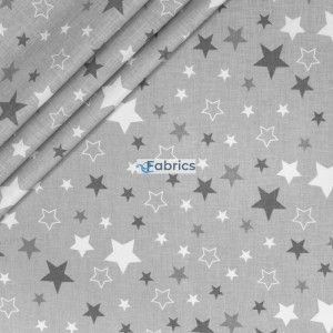 Grey and white stars on a light grey background
