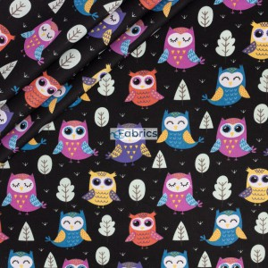 Colorful owls on a black bachground