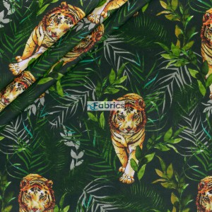Tigers and leaves on a dark green background