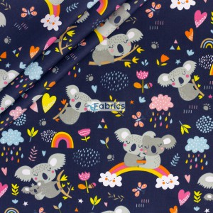 Koala bears on a dark blue background