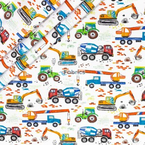 Colorful construction vehicles on a white background