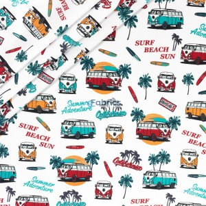 Summer buses and palm leaves on a white background