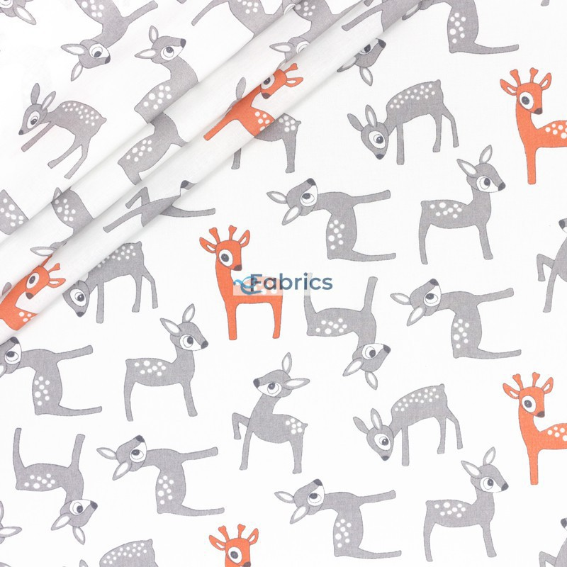 Orange and grey deers on a white background