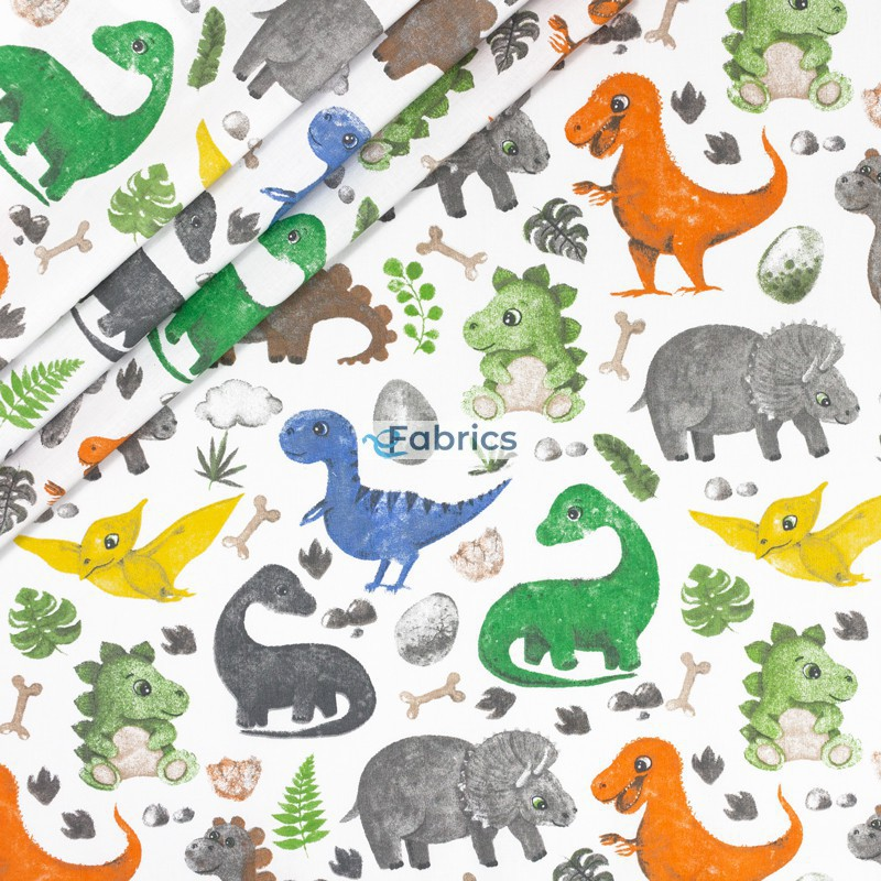 Colorful dinosaurs on a white background