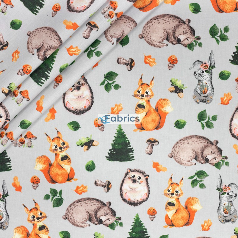 Forest animals with mushrooms on a grey background