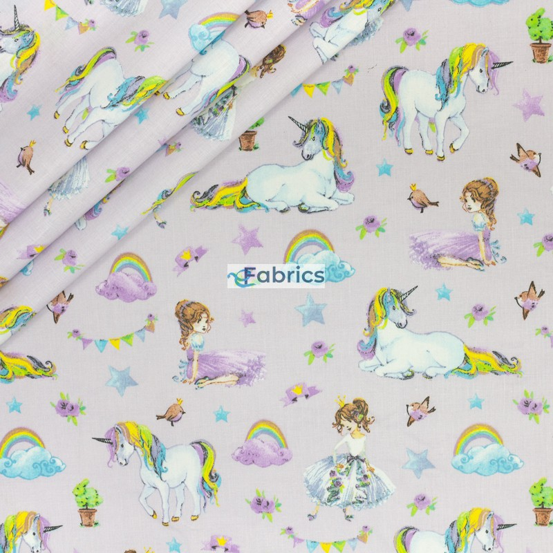 Ballerinas and unicorns on a lilac background