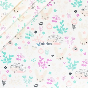 Bunnies and hedgehogs with plants on a whiete background