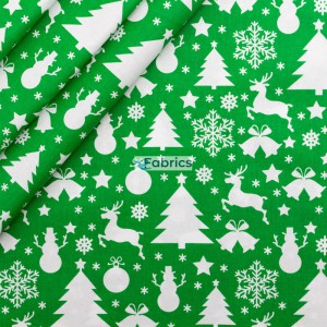 Reindeer, Christmas trees and snowmen on a green background